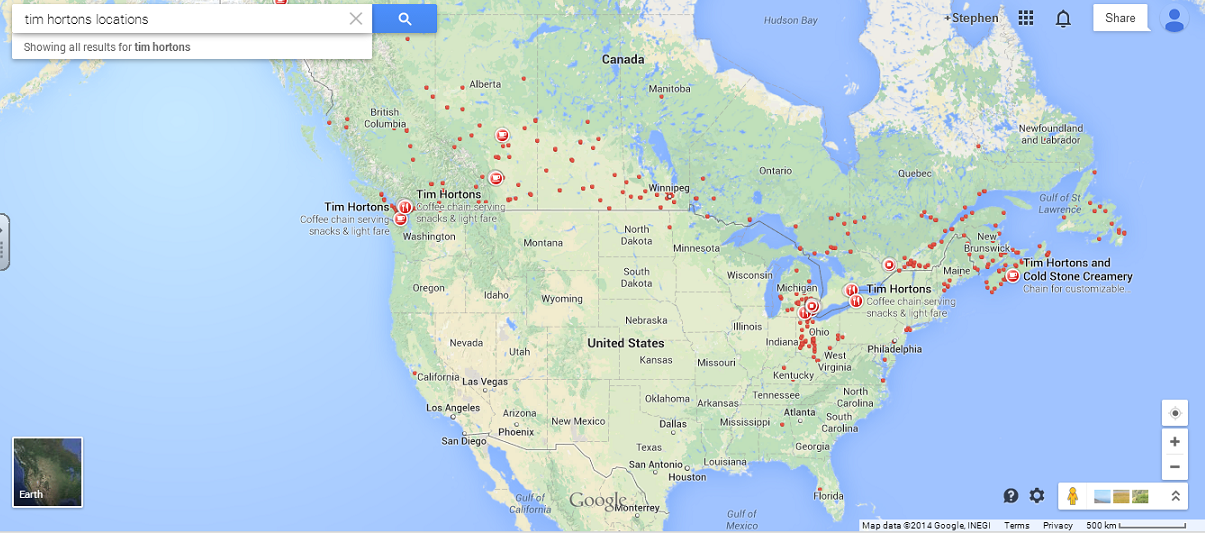 Worthwhile Canadian Initiative Tim Hortons - Tim hortons us locations map